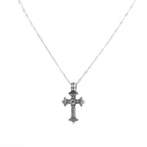 Women's Sterling Silver 925 Traditional Cross with White Zirconia Stone with Twisted Silver Chain 925 with Extra Platinum (AJ00001KA)