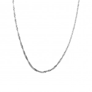 Silver 925 Necklace Women's Twisted Platinum Painted in Silver Color No50-45-40 AJ (AL0001A)
