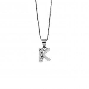 Monogram K Silver 925 Necklace with Zircon Stones AJ (AM0003)