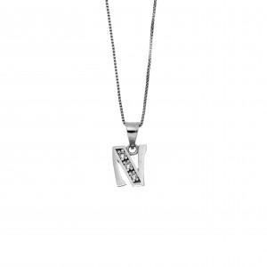 Monogram N Silver 925 Necklace with Zircon Stones AJ (AM0004)