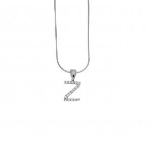 Monogram Z Silver 925 Necklace with Zircon Stones AJ (AM0005)