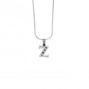 Monogram G Silver 925 Necklace with Zircon Stones AJ (AM0006)