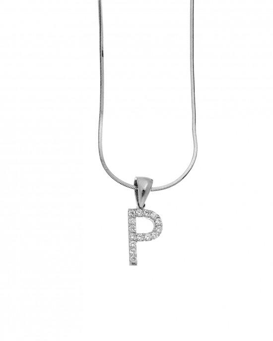 Monogram P Silver 925 Necklace with Zircon Stones AJ (AM0007)