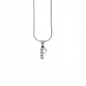 Monogram P Silver 925 Necklace with Zircon Stones AJ (AM0008)