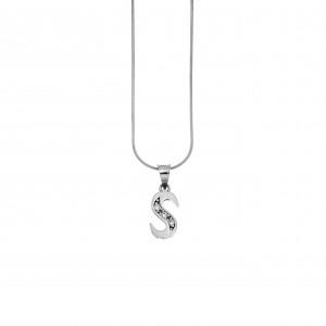 Monogram S Silver 925 Necklace with Zircon Stones AJ (AM0010)