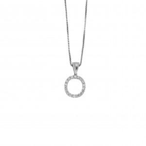 Monogram O Silver 925 Necklace with Zircon Stones AJ (AM0011)