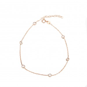 Silver 925-Women's Foot Chain with Stones in Pink Pink Gold AJ (APA0001RX)