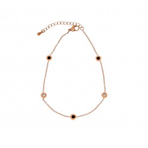 Foot Chain with Steel Stones in Pink Gold AJ (APK0018RX)