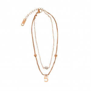 Steel Foot Chain with Stones in Pink Gold AJ (APK0019RX)