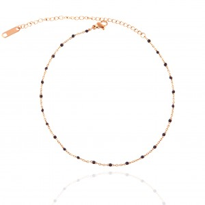 Steel Foot Chain with Stones in Pink Gold AJ(APK0026RX)