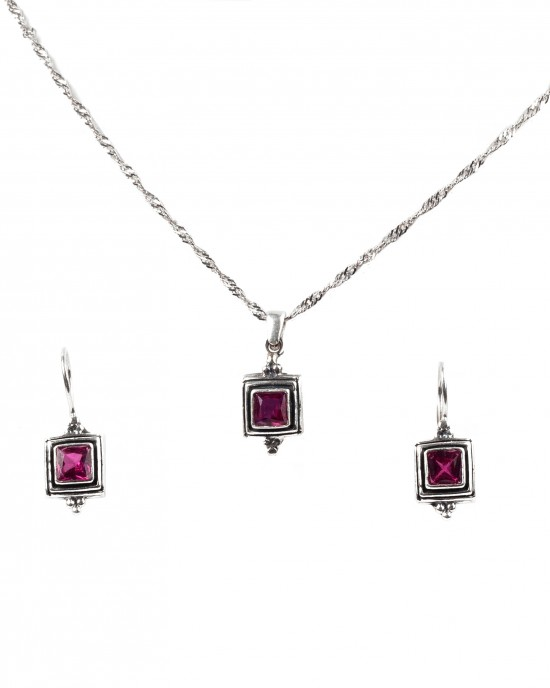 Silver 925 Women's Handmade Set Earrings and Necklace in Silver with Zirconia AJ (AS0001A)