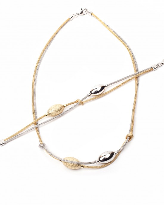 Sterling Silver 925 Necklace with Bracelet in Silver and Gold Color AJ (AS0003AX)