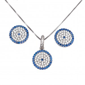 Silver Set 925 Women's Necklace with Earrings Eye Target with Zircon in Silver AJ (AS0004A)