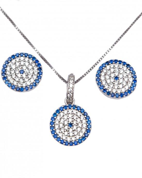 Silver Set 925 Women's Necklace with Earrings Eye Target with Zircon in Silver AJ (AS0004A)