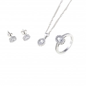 Silver Set 925 with Chain - Women in Silver AJ (AS0005A)
