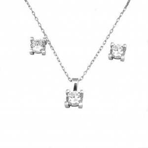 Silver Set 925 Women's Necklace with Earrings in Silver with Zircon AJ (AS0007A)