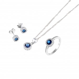 Sterling Silver 925 Rosette Set with Stones in Silver AJ (AS0007A)