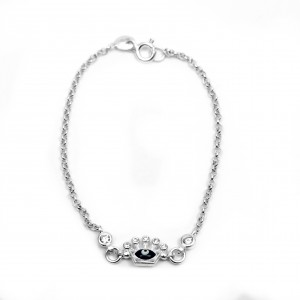Sterling Silver 925 Kids Bracelet with Stones and Eye AJ (BA 0007AP)