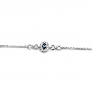 Sterling Silver 925 Children's Eye Bracelet with Silver Zirconia AJ (BA0008AP)