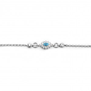 Sterling Silver 925 Kids Eye Bracelet with Zircon in Silver Color AJ (BA0009AP)