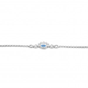 Sterling Silver 925 Kids Eye Bracelet with Zircon in Silver color AJ(BA0010AP)