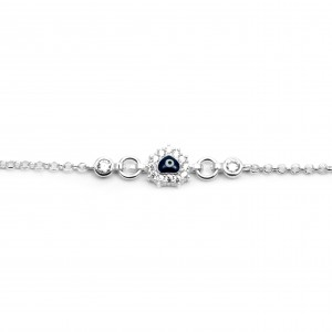 Sterling Silver 925 Eye Bracelet for Kids with Zircon Silver AJ(BA0013AP)