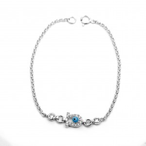 Sterling Silver 925 Bridal Petal Eye Bracelet with Zircon in Silver Color AJ (BA0014AP)