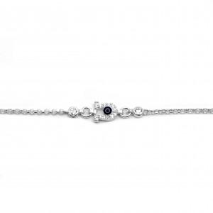 Sterling Silver 925 Kids Petal Zircon Eye Bracelet in Silver Color AJ (BA0015AP)