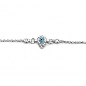 Sterling Silver 925 Baby's Tear Zircon Eye Bracelet in Silver Color AJ (BA0016AP)