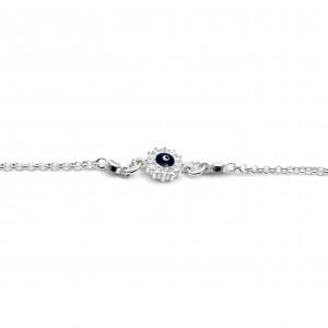 Sterling Silver 925 Kids Eye Bracelet with Zircon in Silver Color AJ (BA0017AP)