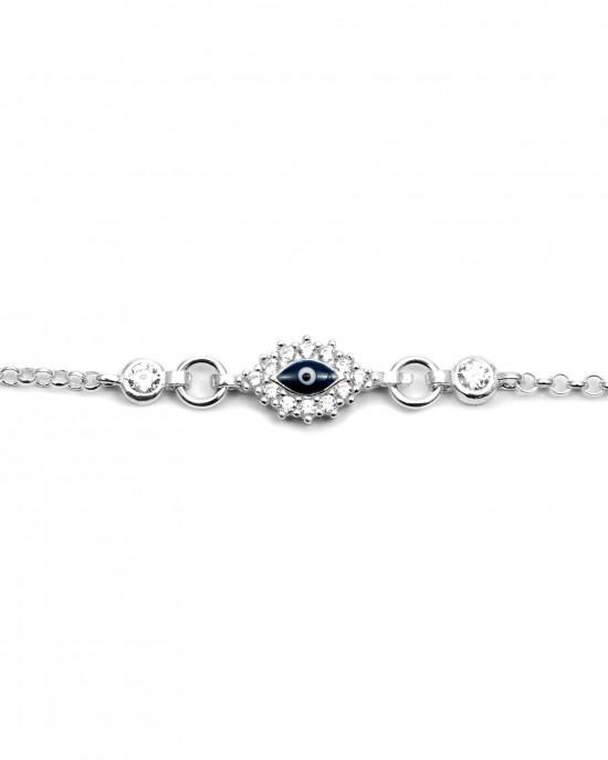 Sterling Silver 925 Kids Eye Bracelet with Zircon Silver AJ (BA0018AP)