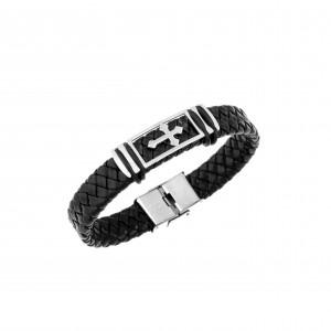Men's Cross Leather and Steel Bracelet in Silver AJ (BDA0001)