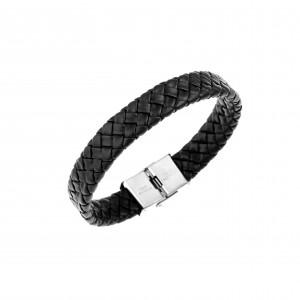 Men's Leather Knitted Bracelet Black AJ (BDA0002)