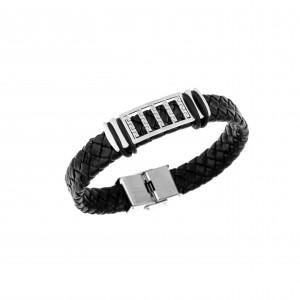 Men's Steel Leather Bracelet AJ (BDA0003)
