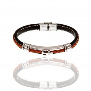 Leather Bracelet with Steel Anchor in Silver AJ (BDA0006A)