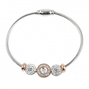 Women's Silver Stainless Steel Bracelet with PINK Gold AJ(BK0002RX)