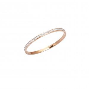 Handcuffs-Bracelet with Steel Stones in Rose Gold AJ(BK0003RX)