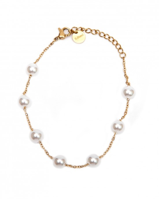 Women's Steel Bracelet with Stones Pearls in Yellow Gold AJ (BK0016X)