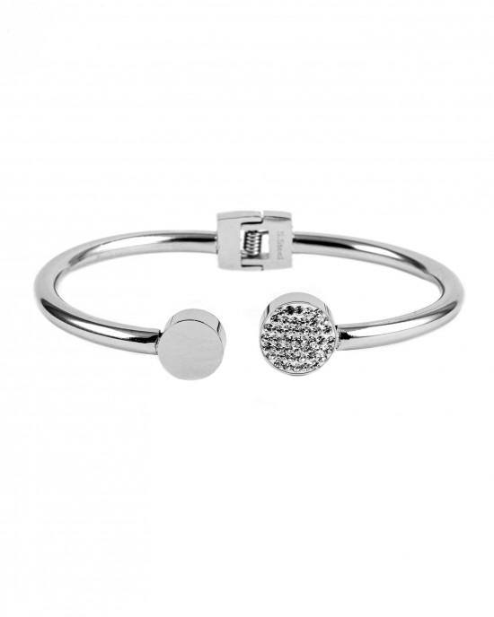 Women's Stainless Steel Handcuff Bracelet with Zircon Stones in Silver