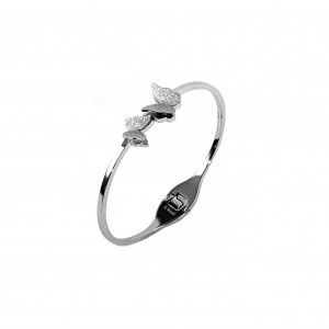 Sterling silver bracelet with diamonds and butterflies BK0020A