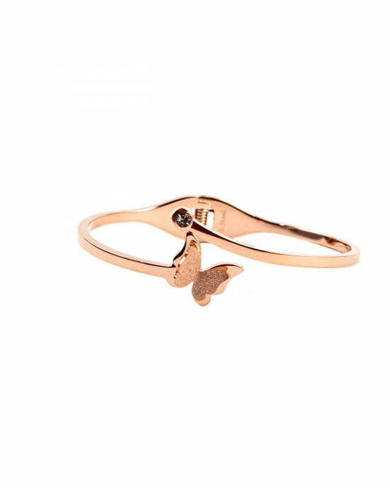 Steel handcuffs with butterfly design in pink gold BK0023RX