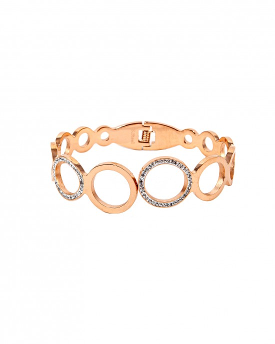 Women's Opening Bracelet, Stainless Steel Handpiece in Pink Gold with Zircon Stones BK0037A
