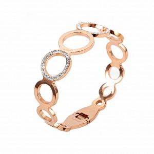 Women's Opening Bracelet, Stainless Steel Handpiece in Pink Gold with Zircon Stones BK0037A