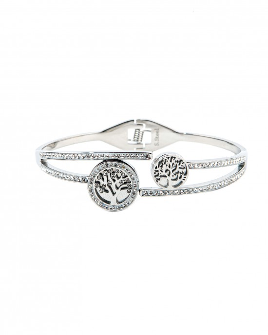Steel handcuffed female tree of life with silver zircon BK0028A