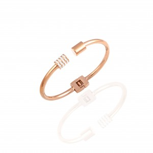 Women-Handcuffs with Steel Stones in Rose Gold AJ (BK0031RX)