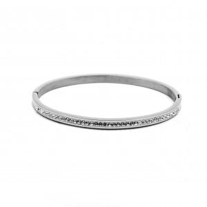Women's Zirconia Steel Bracelet Opened in Silver Color AJ (BK0040A)