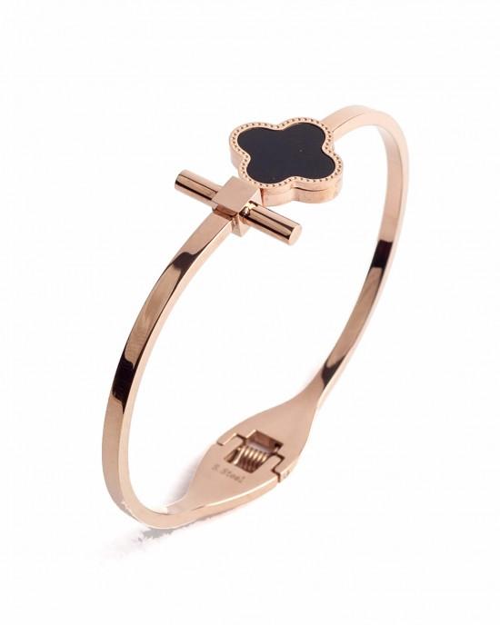 Women's bracelet with enamel cross in pink gold color BK0045RX