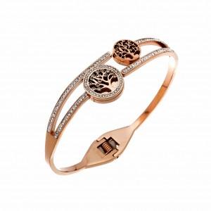 Bracelet-Handle Life Tree Of Steel In Pink Gold AJ (BK0047RX)