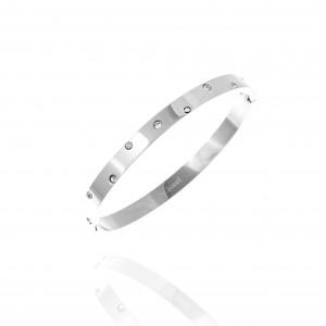 Bracelet-Steel Handcuffs with Stones in Silver AJ (BK0052A)