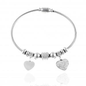 Women's Bracelet with Steel Hearts in Silver AJ (BK0073)
